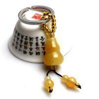 【厂家批发】葫芦 天然黄玉钥匙扣 招财辟邪小饰品 小葫芦挂件
