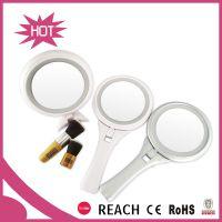 厂家直销费施奈新款 简约带8个LED灯化妆镜 手柄台式两用双面镜子