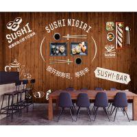 景灿大型3D立体整张木纹韩式料理壁纸 无纺布壁画 日本主题寿司小吃店餐厅背景墙纸