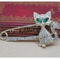 镶钻绿眼睛卡通猫咪胸针 披肩扣别针 Ebay速卖通货源 ALQH2014012