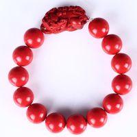 天然台湾朱砂貔貅手串情侣款辟邪养颜招财圆珠开运珠复古护身佛珠