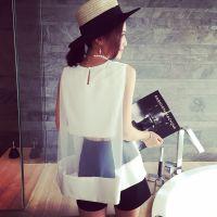 小银子2015夏装新款洋气性感欧根纱拼接露腰无袖上衣X5127