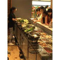 佳伯自助烤肉自选菜品保鲜柜卧式份盘式多品类菜品选菜展示