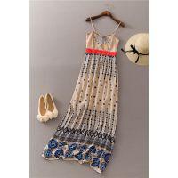 J593 2015夏季款女装 全棉纯棉吊带刺绣印花连衣裙长裙