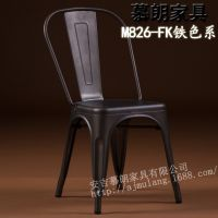 铁皮餐椅马莱椅 北欧式金属椅复古铁艺工业椅子咖啡厅餐椅 铁原色