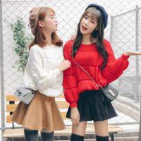 2016秋季新款韩版甜美学院风套头毛衣外套针织泡泡袖打底衫女批发