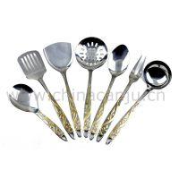【厂家供应】新花镀金厨具 不锈钢厨具 厨房工具用品 烹饪勺