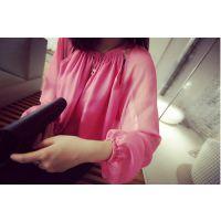 梦梦家3.30韩版时尚雪纺衫上衣2015女士夏新款长袖透视罩衫 T0662