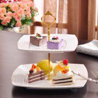 高档欧式浮雕水果盘 多层陶瓷点心盘子 婚庆蛋糕架托盘