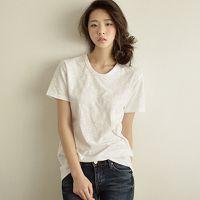 韩国官网同款 夏装新款日韩大码女装纯色宽松竹节棉圆领打底衫T恤