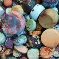 无优化原矿纯天然绿松石盘珠 乌兰花 打磨半成行原石 配件批发
