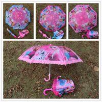 全网 冰雪奇缘折叠挂钩花边雨伞儿童雨伞 精致可爱卡通雨伞