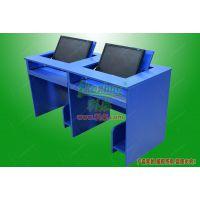 科桌K146双人翻转电脑桌 多媒体培训教室桌 学生电脑桌 办公翻转桌板式
