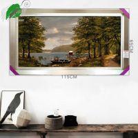 亿丝纯正伊朗进口古典欧式风景小船树林河流浪漫羊毛挂毯115x65cm