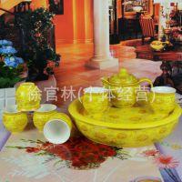 景德镇陶瓷茶具  8头骨瓷釉上彩描金牡丹双层隔热套装茶壶杯子