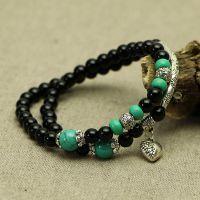 原创黑玛瑙两圈手链 配藏银绿松石女款手串