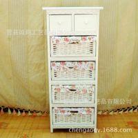五层白色实木碎花田园风格书籍杂志收纳柜 定做加工儿童收纳柜