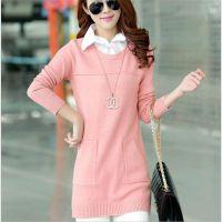 2015春款 女式韩版修身假两件针织衫 中长款衬衫领拼接长袖毛衣