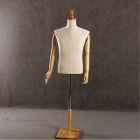厂家供应美力半身包布模特衣架 男款亚麻包布实木手半身模特(W-100)