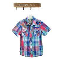 男童短袖衬衫外贸童装原单童衬衫儿童格子条纹彩色纯棉中大童衬衣
