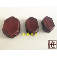 红木雕刻镂空工艺品摆件 玉器奇石底座 红酸枝套三梳子形底座