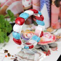 热销珊瑚绿松石砗磲混搭方形小手排撞色销售