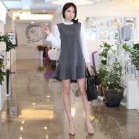 定制2015夏韩版女套装 气质优雅名媛休闲连衣裙 蓬蓬裙潮 可贴标