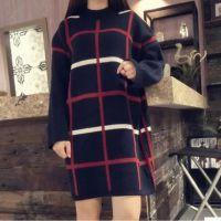 2015秋季新品中长款韩版格子毛衣女加厚针织衫套头打底衫 批发