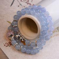 天然水晶海蓝宝手链多层女 正品 时尚新品 女款手串 泰银葫芦吊坠