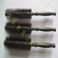 东莞厂家专业美发梳子裂纹漆梨花头造型圆筒梳 滚梳 卷发直发造型