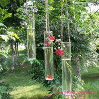 YPANGLASS 透明玻璃长管花瓶 透明长管圆形花插家居饰品挂件