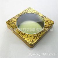厂家定做正方形马口铁巧克力包装铁盒 上盖开窗彩印糖果包装铁盒