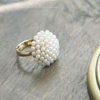 来料加工 、指环装饰 镶珍珠蘑菇头白色珍珠戒指 义乌小商品批发