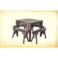 明清仿古家具仿古铜钱八仙桌四方桌铜钱凳实木榆木方桌餐桌