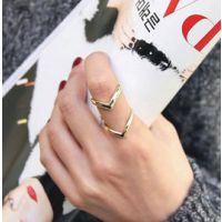 YE040  2015新款韩国饰品 双V形关节戒指 速卖通热卖戒指  爆款