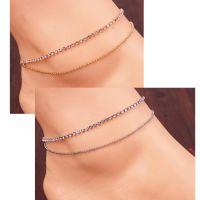 速卖通热销欧美双层水钻金属链条脚链 女式银色脚链 一件代发