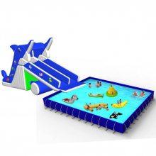 心悦大型水上乐园支架游泳池,海豚充气水滑梯,pvc水上滑梯价格,聚醚乙烯支架水池