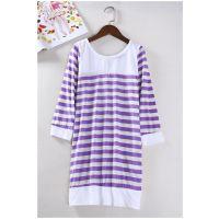 日韩外贸原单批发尾货出口夏季女装条纹七分袖全棉打底衫T恤D712A
