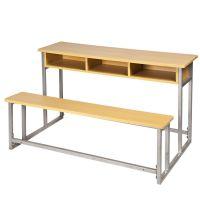批发学校家具 学生课桌椅 钢木双人课桌椅连体套装 会议桌椅定制