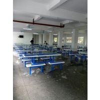 塘厦工厂八人位短条凳餐桌 食堂餐桌椅 玻璃钢餐桌 户外餐桌