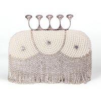 新款女式珍珠镶钻手拿包珍珠晚宴包新娘包派对小包奢华婚包