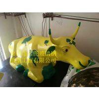 玻璃钢彩绘牛雕塑摆件商场招财迎宾动物劲牛公园绿地装饰