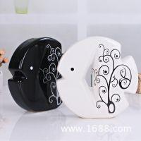 景德镇陶瓷摆件 黑白陶瓷鱼情侣摆件 礼品 一件代发饰品免费代理