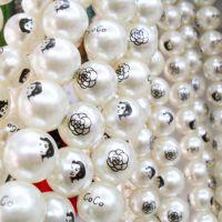印花珍珠 印字珍珠 10MM-30MM现货供应COCO美人头玫瑰花仿珍珠