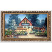 手绘欧洲花园欧式风景油画美式花园客厅超大幅巨幅装饰画有框挂画