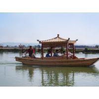 5.5米水乡单亭船 农用手划船 电动单亭木船 户外湖面旅游观光船