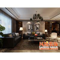 哈尔滨凤凰装饰公司—电视墙采用理石与木质色调相搭配,现代感十足的吊灯更是使整个客厅充满时代感。