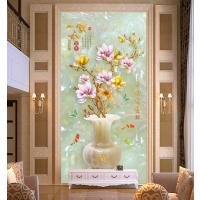 朱居家 玄关瓷砖背景墙中式 走廊过道内墙壁画玉兰花锦鲤家和富贵图片
