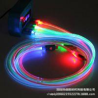 新款发光充电线 荧光发光线 三星安卓小米发光数据线 V8 导光线
