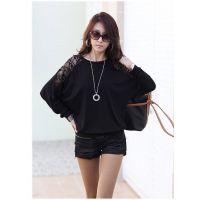 新款韩版女装大码宽松长袖T恤长袖蕾丝拼接百搭打底衫蝙蝠衫